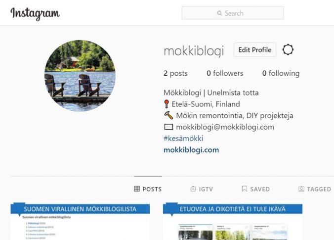 Mökkiblogi instagramissa