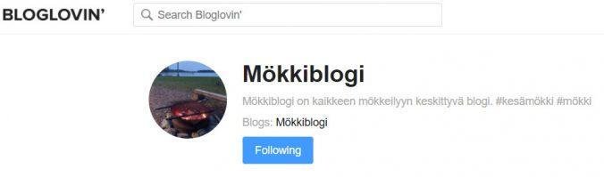 Mökkiblogi löytyy Bloglovinista